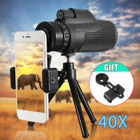 40X60 Zoom Optical Lens Monocular Telescope + Clip + Tripod For iphone 5 6 7 8
