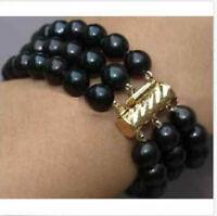 "south sea triple strands AAA 9-10mm  black pearl bracelet 7.5-8"" 14K gold clasp"