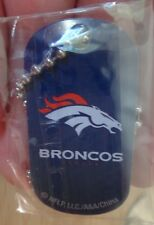 "NFL Football Keychain Dog Luggage Tag w/ 21"" Necklace Bead Chain Denver Broncos"
