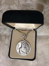"""CREED """"ST. PATRICK""""  MEDAL Stainless Silver 24"""" Chain, Gift Boxed  NEW SO827-41"""