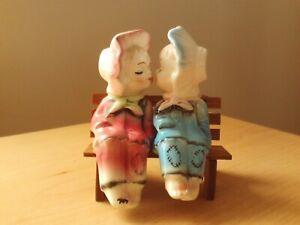 Vintage Retro Kitsch Ceramic Boy & Girl Kissing On Bench Salt/Pepper Set Japan.