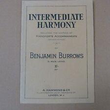 books INTERMEDIATE HARMONY incl writing piano accompaniments, Benjamin Burrows