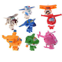 8pcs Mini Super Wings Robot Airplane Transformer Animation Character Kids Toy
