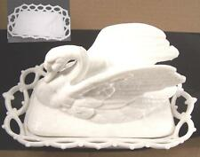 Excellent VHTF 1800s Swan on Nest Lace Basket Milk Glass Beautifully Molded