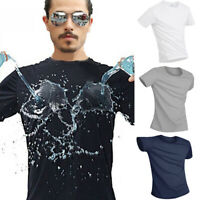 Men's Workout Fitness Sports T-shirt Round-neck Short Sleeve Dri-fit Breathable
