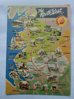 North West Illustrated Map Photo Colour Dennis Postcard