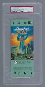 VINTAGE 1979-80 NFL SUPER BOWL XIV FULL FOOTBALL TICKET - RAMS v STEELERS PSA 7