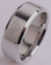 "DC COMICS SUPERMAN ""S"" ETCHED LOGO Stainless Steel BAND RING SIZE 9"