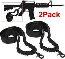 2PCS Single 1 One Point Sling Black Bungee Adjustable Tactical Black Hunting 10