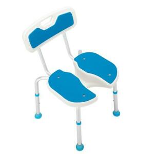 Aluminum Alloy Lifting Bath Chair 5 Files With Backrest PE Seat Stool Blue