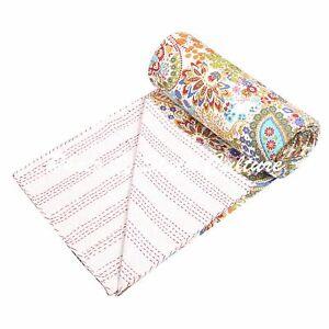 Indian Kantha Bedding Bedspread Vintage Quilt Coverlet Blanket Reversible Throw