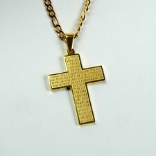 Gold Plated Titanium Steel Square Cross & 4mm Gold Plated Figaro Chain
