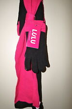 LULU by LULU GUINNESS Knit Bow Infinity Scarf &Touch Glove Set Black/Fuchsia NWT