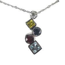 Blue Sapphire Diamond Pendant Gemstone Necklace September Birthstone 14k Gold