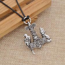 Neu Fashion Schmuck Geschenk Halskette für Herren Viking Kolkrabe Wolf Anhänger