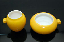 Yellow Glazed Porcelain Bird Feeders Seed/Water Cups for Chinese Bamboo Cage