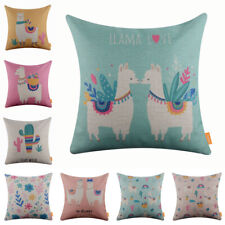 Cartoon Tropical Llama Cushion Cover Throw Pillow Case Floral Kid Room Decor 18""
