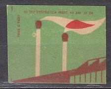 POLAND 1962 Matchbox Label - Cat.Z#566a.-r I Two chimneys of burning matches.