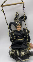 """Hand Painted Harlequin Porcelain Doll On Swing """"Frolic"""""""