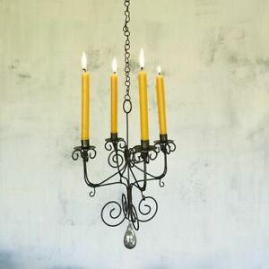 Rustic Mini Hanging Chandelier, Taper Candle Holder, Small Wire Rust Metal