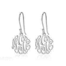 """Monogram Earrings - 925 Sterling Silver Initial Earrings- 0.6"""""""