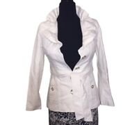 White House Black Market White Polyester Cotton Lined Jacket Coat XXS Women's