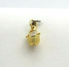 Glenaan 1980 14K Gold 3D Mini Dainty Nantucket Basket Charm Pendant