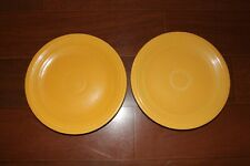 """Lot of 2 Vintage (7 1/2"""") Salad Plates Pre '73 Marked HLC Yellow - Fiestaware"""