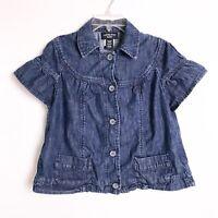 CANYON RIVER BLUES Denim Jacket Cropped Short Sleeve Jean Jacket Women's Size M