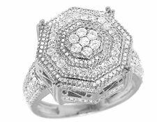 Men's 10K White Gold Genuine Diamond 3D Octagon Wedding Pinky Ring 2 2/5 CT 19MM