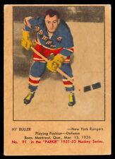 1951 52 PARKHURST HOCKEY #91 Hy Buller EX Cond Rookie New York Rangers rc Card