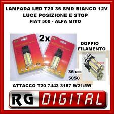 COPPIA 2 LAMPADE LED T20 36 SMD LED 5050 LUCE POSIZIONE X ALFA MITO FIAT 500