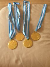 4 X Gold Football Medals With Blue And White Ribbon Bn