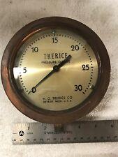 """Trerice Pressure Gauge Co. Steam Brass Steampunk Vintage 1/4"""" Thread 6"""" Diam"""