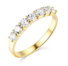 1.50 Ct Round Real 14k Yellow Gold 7-Stone Anniversary Wedding Bridal Band Ring