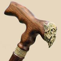 Brass Viking Wood Cane Walking Stick for Men - Fancy Carved Wooden Canes - Thor