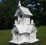 Birdhouse Shabby Distressed White Wood Victorian Bird House with Clean Out Hole