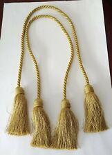 Curtain Drape Tiebacks Tassel Pullback Rope Chartreuse Shabby Chic Boho set of 2