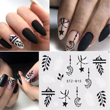 Nail Art Water Decals Stickers Transfers Black Leaf Flowers Fern Star Moon (815)