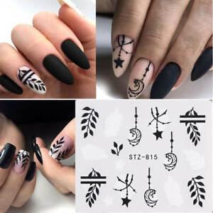 Nail Art Water Decals Stickers Transfers Black Leaf Flowers Fern Star Moon (815)