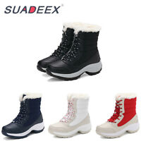 Womens Winter Snow Warm Boots Fur Lined Casual Mid Calf Outdoor Waterproof Shoes