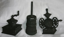 3 Sexton Country Kitchen Metal Wall Plaques Butter Churn Grinder Mill Vintage
