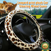 1X Leopard Print Steering Wheel Cover Soft Plush Warm Furry Fluffy Car Accessory
