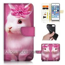 ( For iPod Touch 6 ) Wallet Flip Case Cover AJ40685 Rabbit Bunny