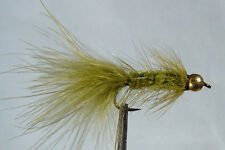 10 x lot Mouche Streamer Wooly Bugger Olive bille H8/10/12 fly fishing marabou
