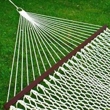 New listing Products Woven Cotton Rope Double Hammock W/ Wood Spreader And Carry