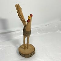 HANDCRAFTED Carved ROOSTER CHICKEN Wood Figurine NATURAL Bark Curled Tail SIGNED