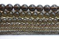 "Natural Smoky Quartz Gemstone Round Beads 2mm 3mm 4mm 6mm 8mm 10mm 12mm 15.5"""