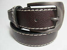 "Men Dark Brown Leather Belt with Smoke Color Buckle M 34 - 36"" #1647A"