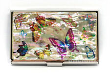 Mother of Pearl Metal Butterfly Business Name ID Card Case Money Holder Wallet